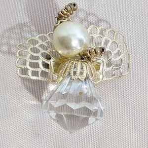 Vintage Gold & Faux Pearl Christmas Angel Brooch